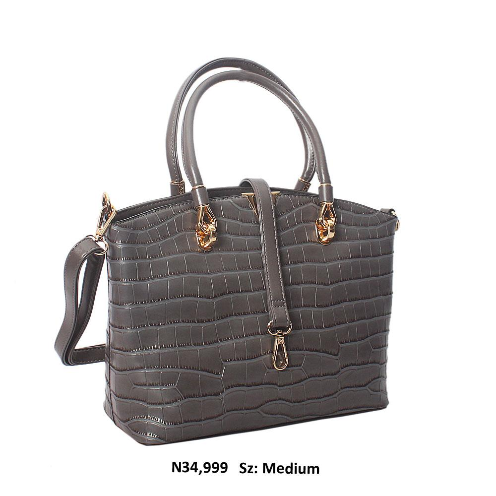 Dark Gray Regina Croc Style Leather Tote Handbag