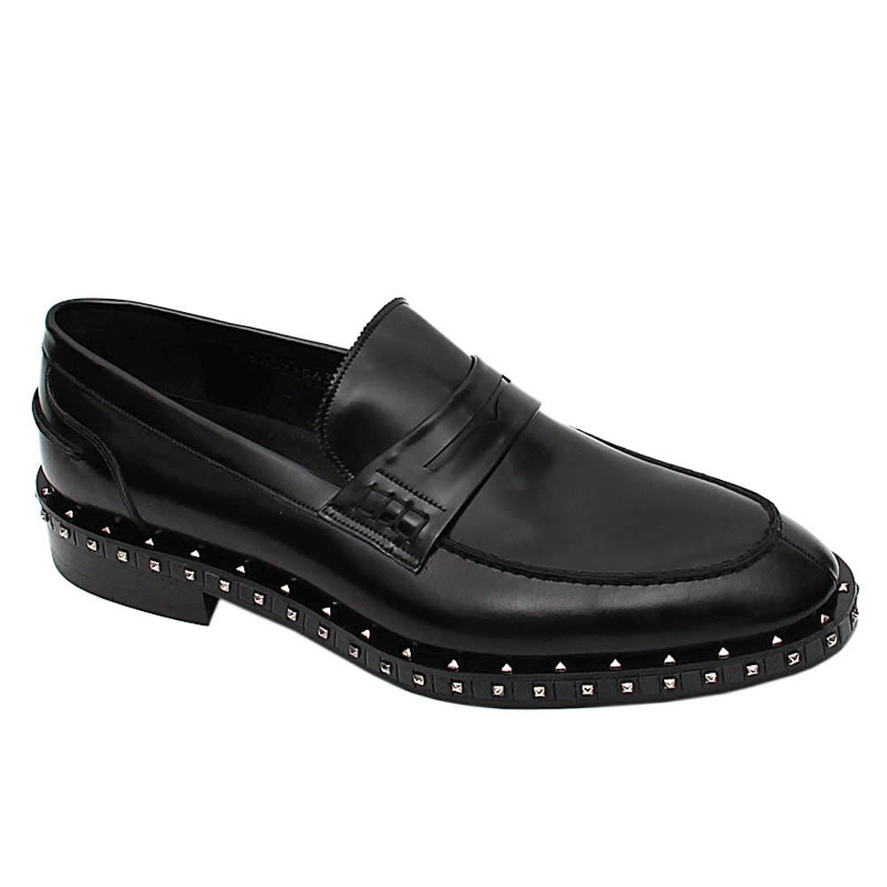 Black Studded Emiliano Italian Leather Penny Loafers