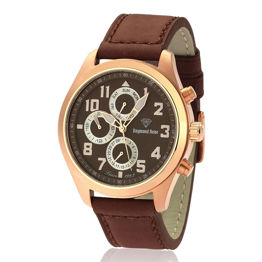 DR Brown Leather Strap Pilot Watch