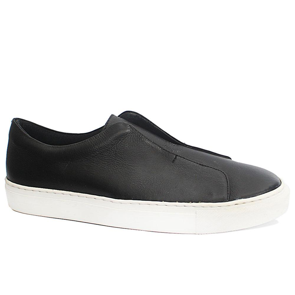 French Connection T. Fham Black Leather Comfort Fit Sneakers