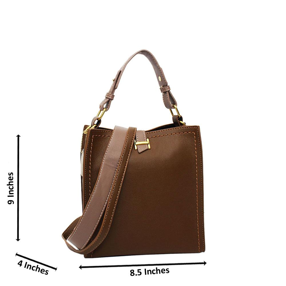 Brown Lily Leather Small Top Handle Handbag