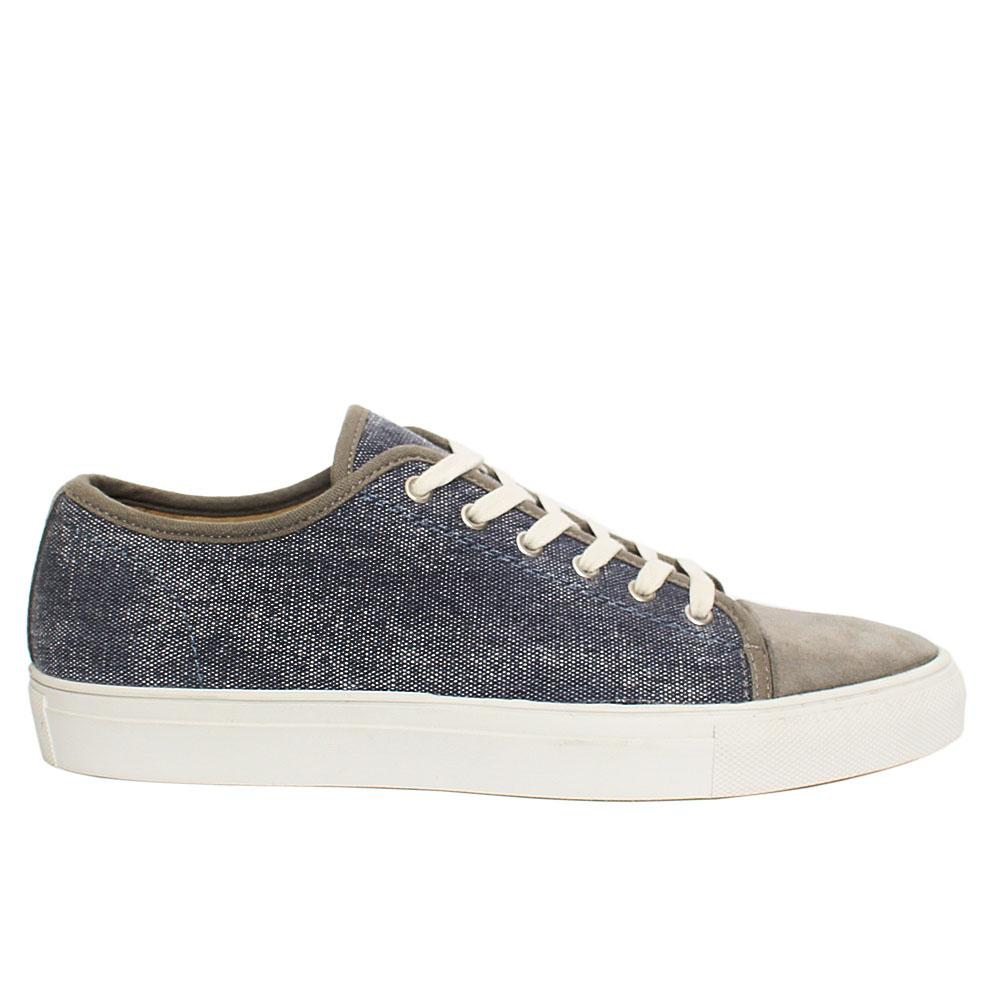 Gray Fabric Suede Leather Sneakers