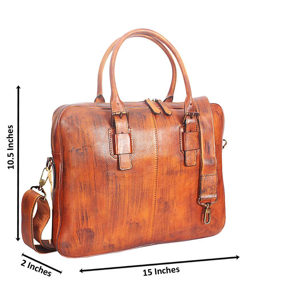 Will Smith Brown Italian Full Grain Leather Briefcase
