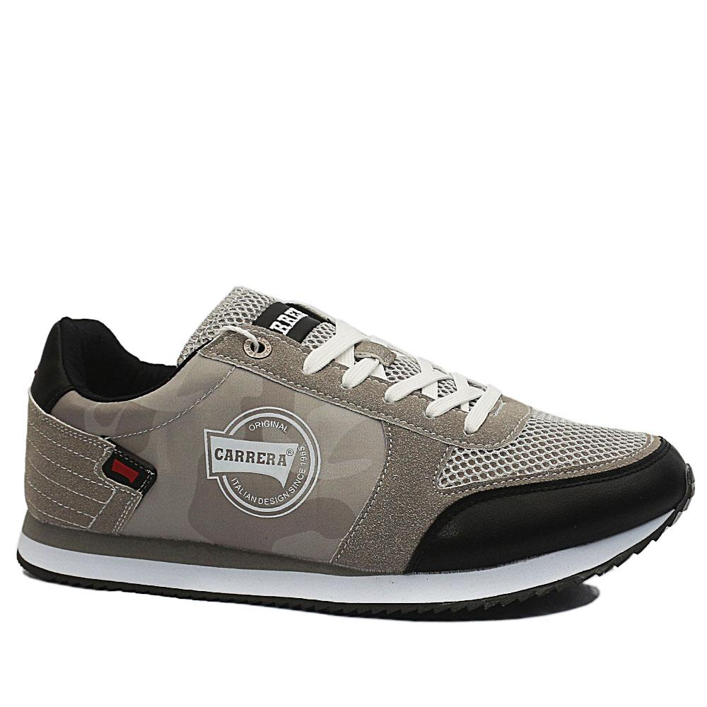 Sz 44 Carrera Gray Black Mix Fabric Suede Leather Breathable Sneakers