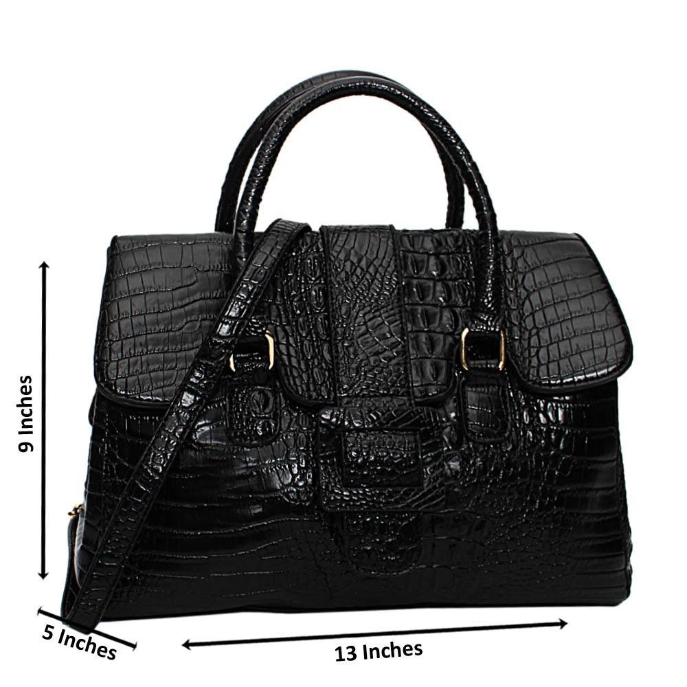Black Ruby Croc Leather Medium Tote Handbag