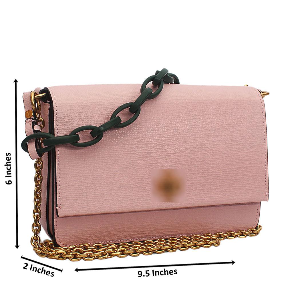 Pink Cowhide Leather Chain Crossbody Bag