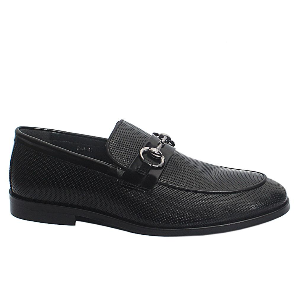 Black Reagan Dotted Leather Penny Loafers