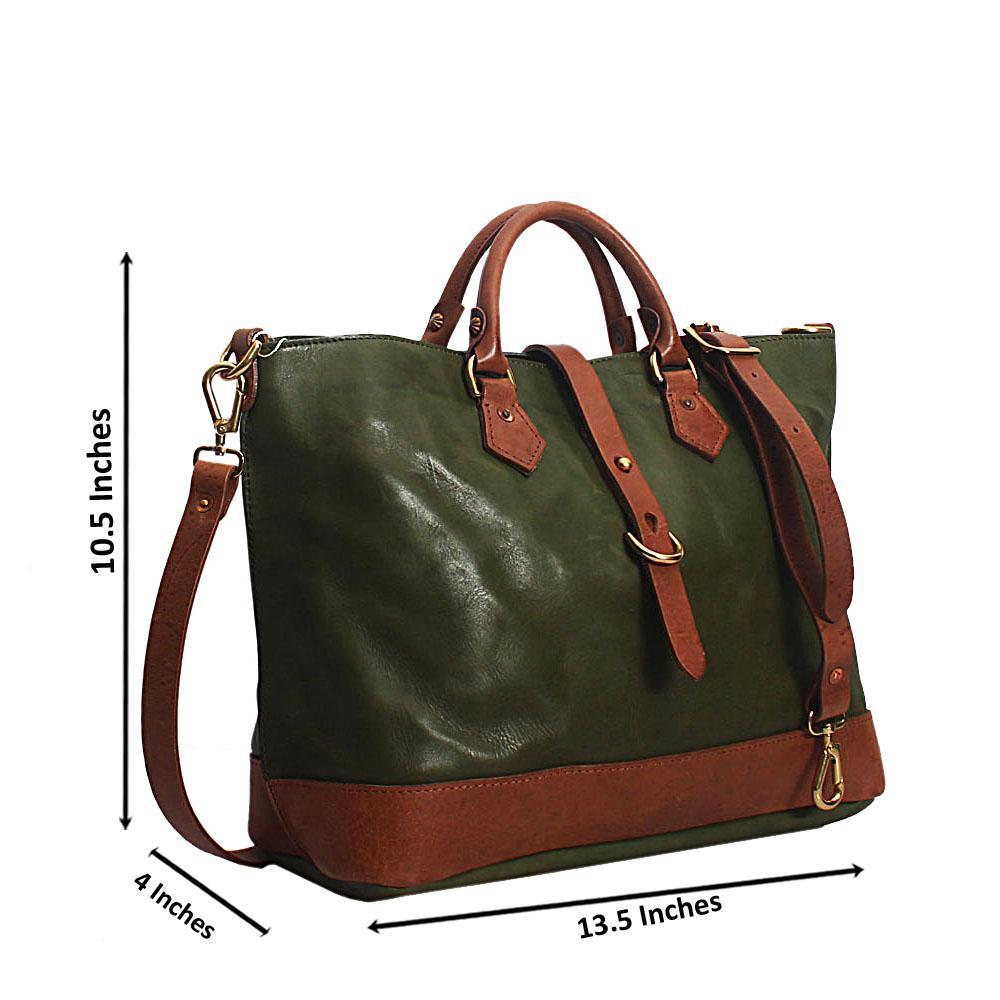 Green Verona Hand Made Spanish Leather Tote Handbag