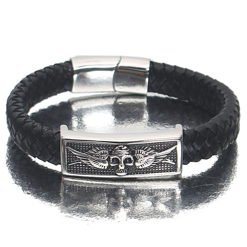 Silver Black Wing Skull Leather Bracelet