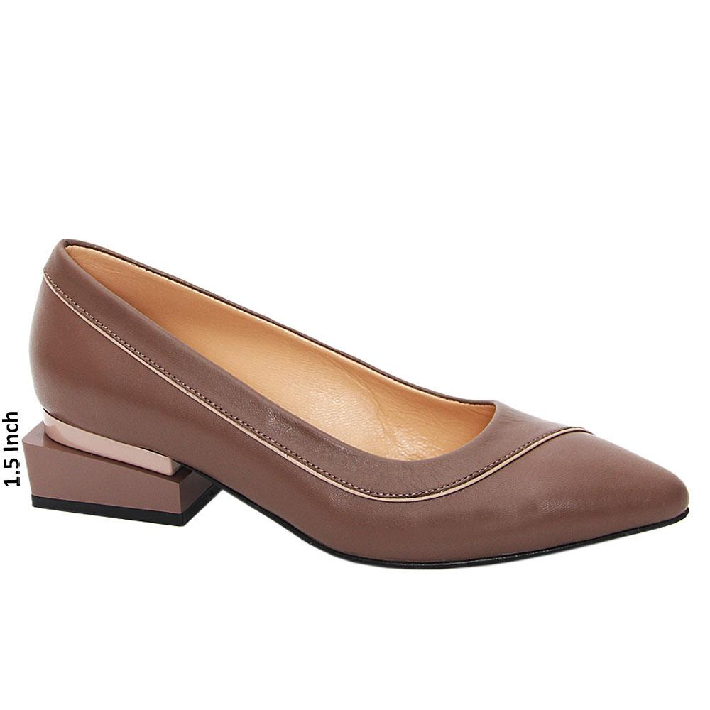 Brown Honora Tuscany Leather Low Heel Pumps