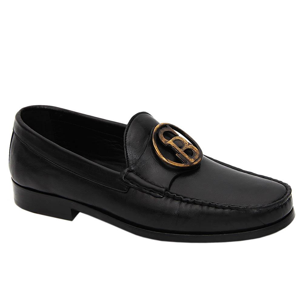 Black Ercole Italian Leather Penny Loafers