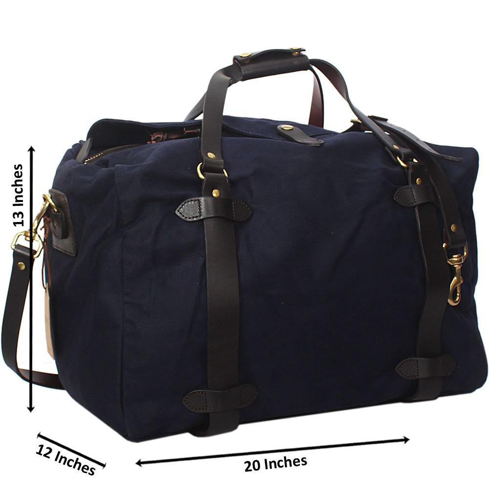 Navy Water Proof Khaki Leather Mix Duffel Bag