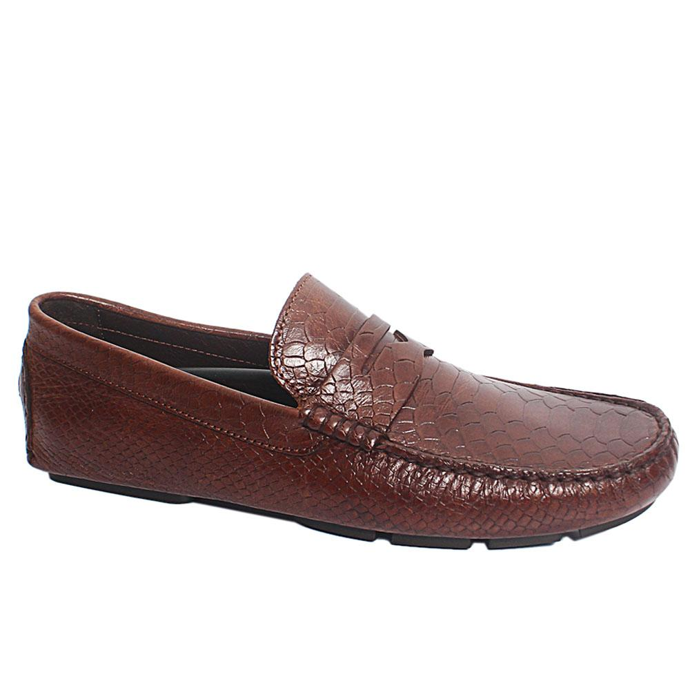 Coffee Croc Style Italian Leather Drivers Shoes
