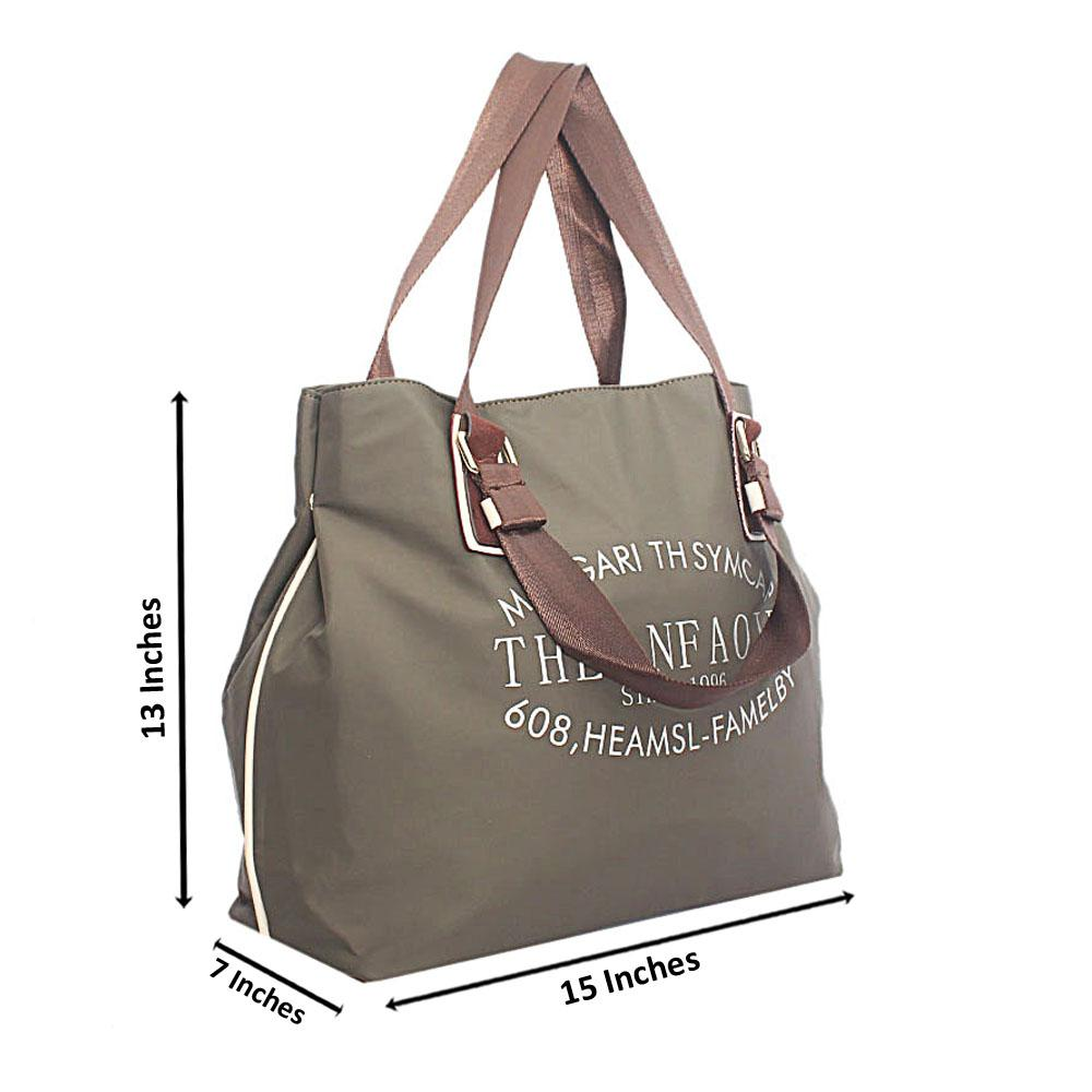 Greeen Brown Fabric Shopping Bag