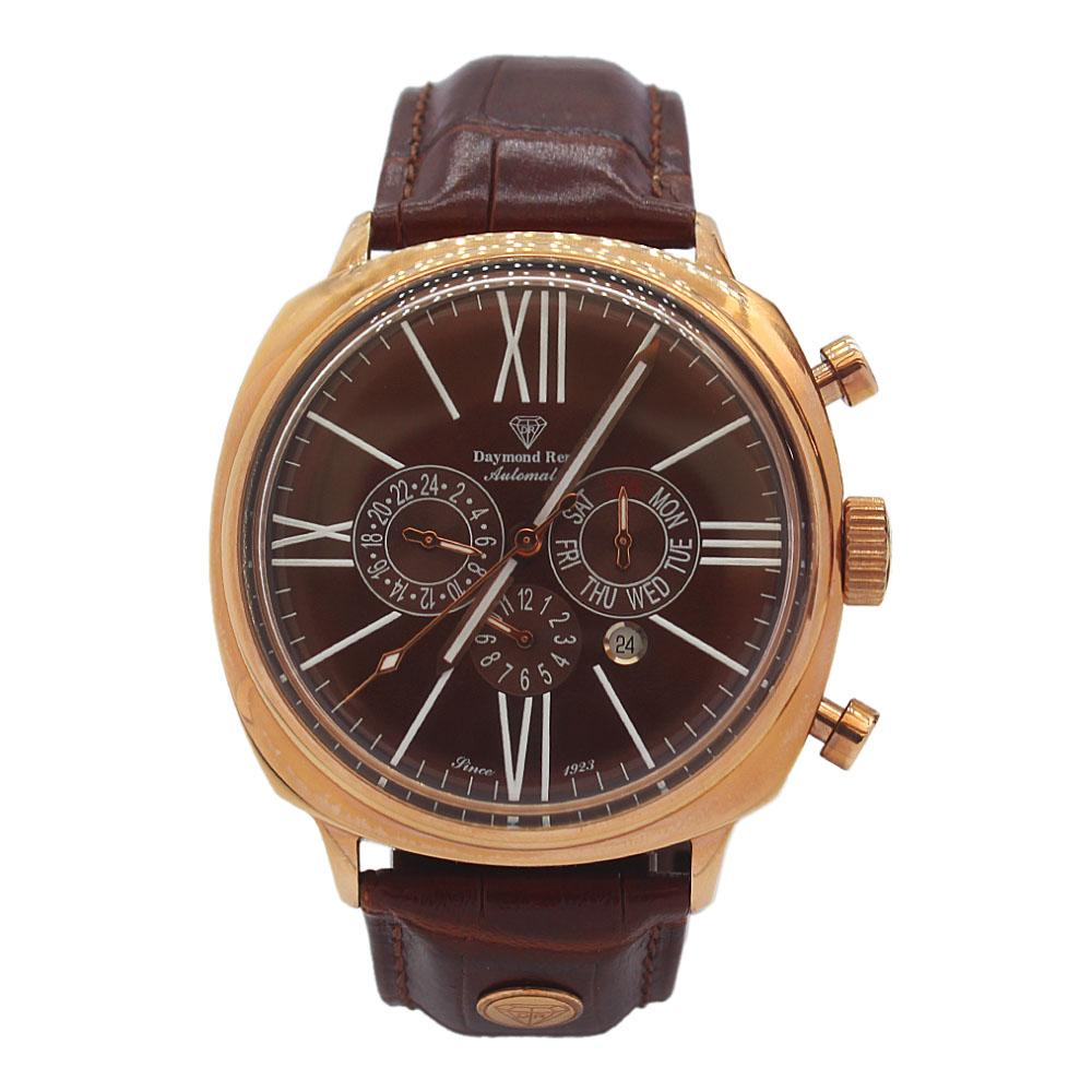 Gold Brown Leather Automatic Watch