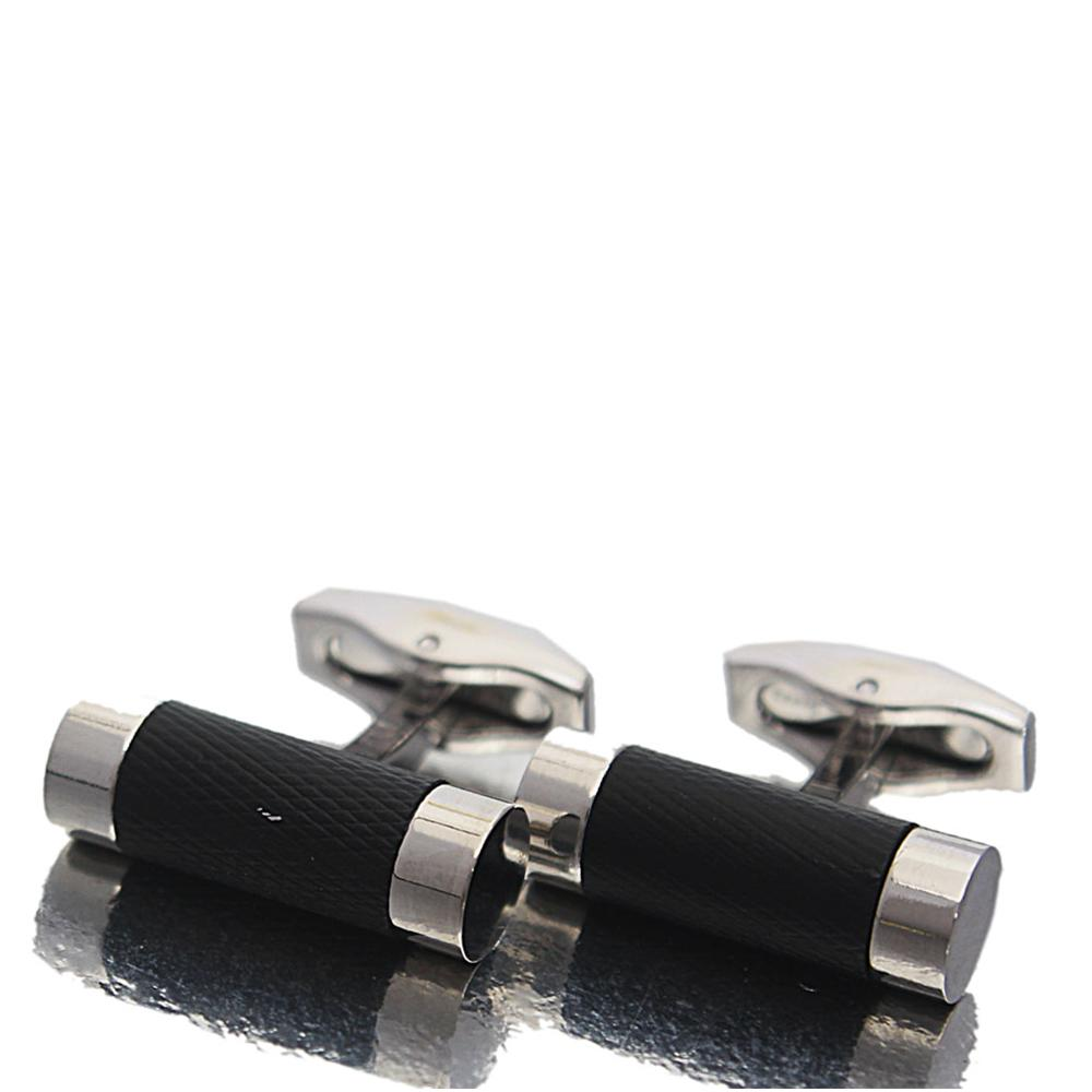 Silver Classic Black Band Stainless Steel Cufflinks