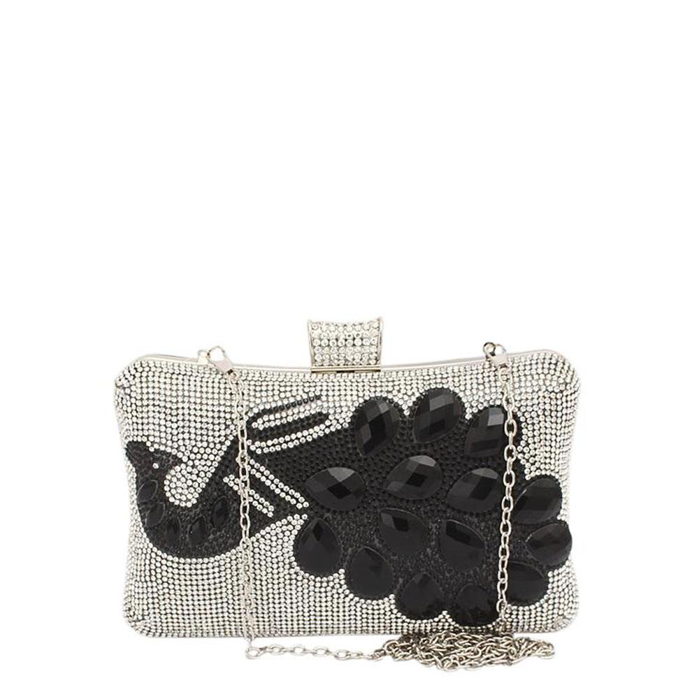 Fashion Black Silver Studded Ladies Clutch Purse-