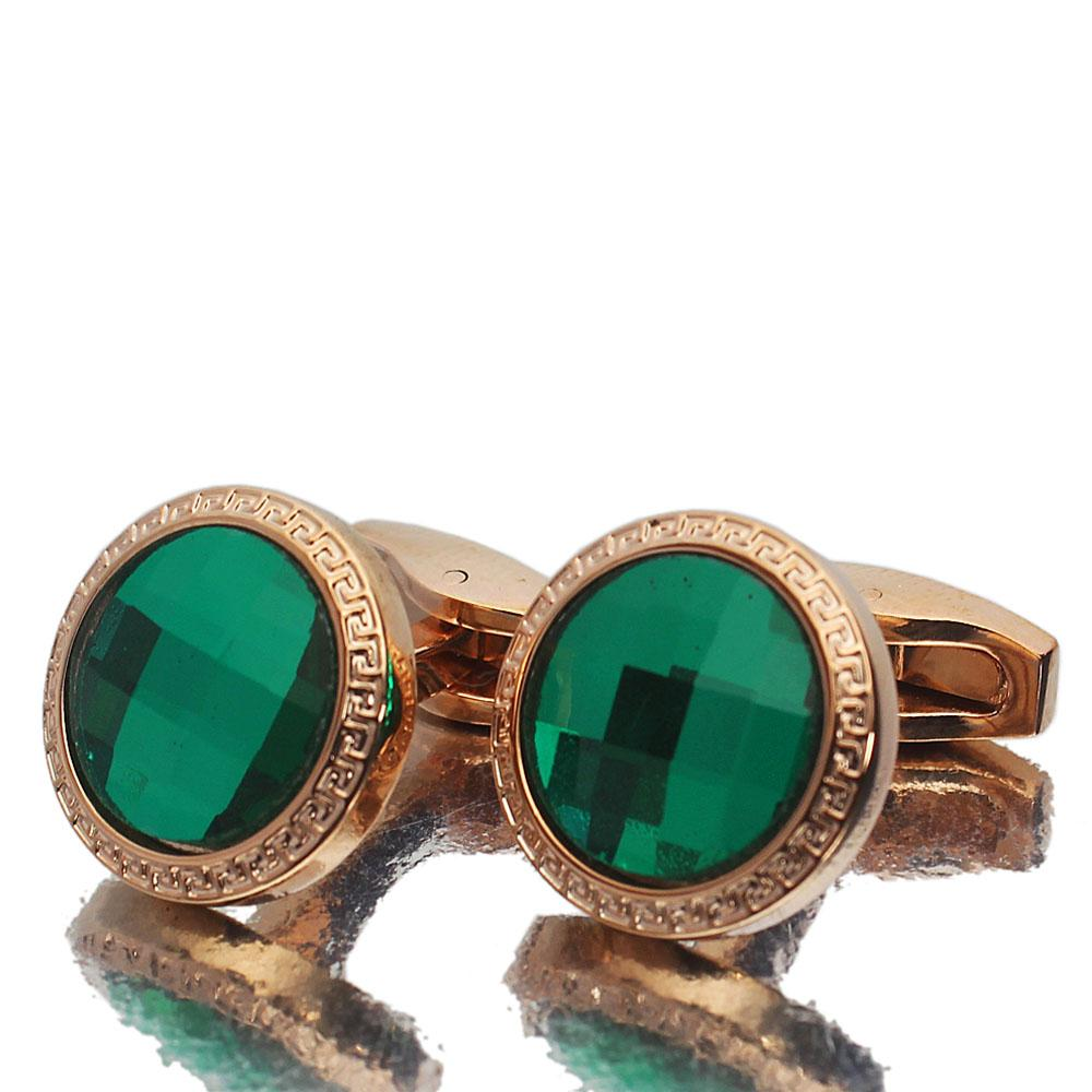 Rose Gold Green Ceramic Stainless Steel Cufflinks