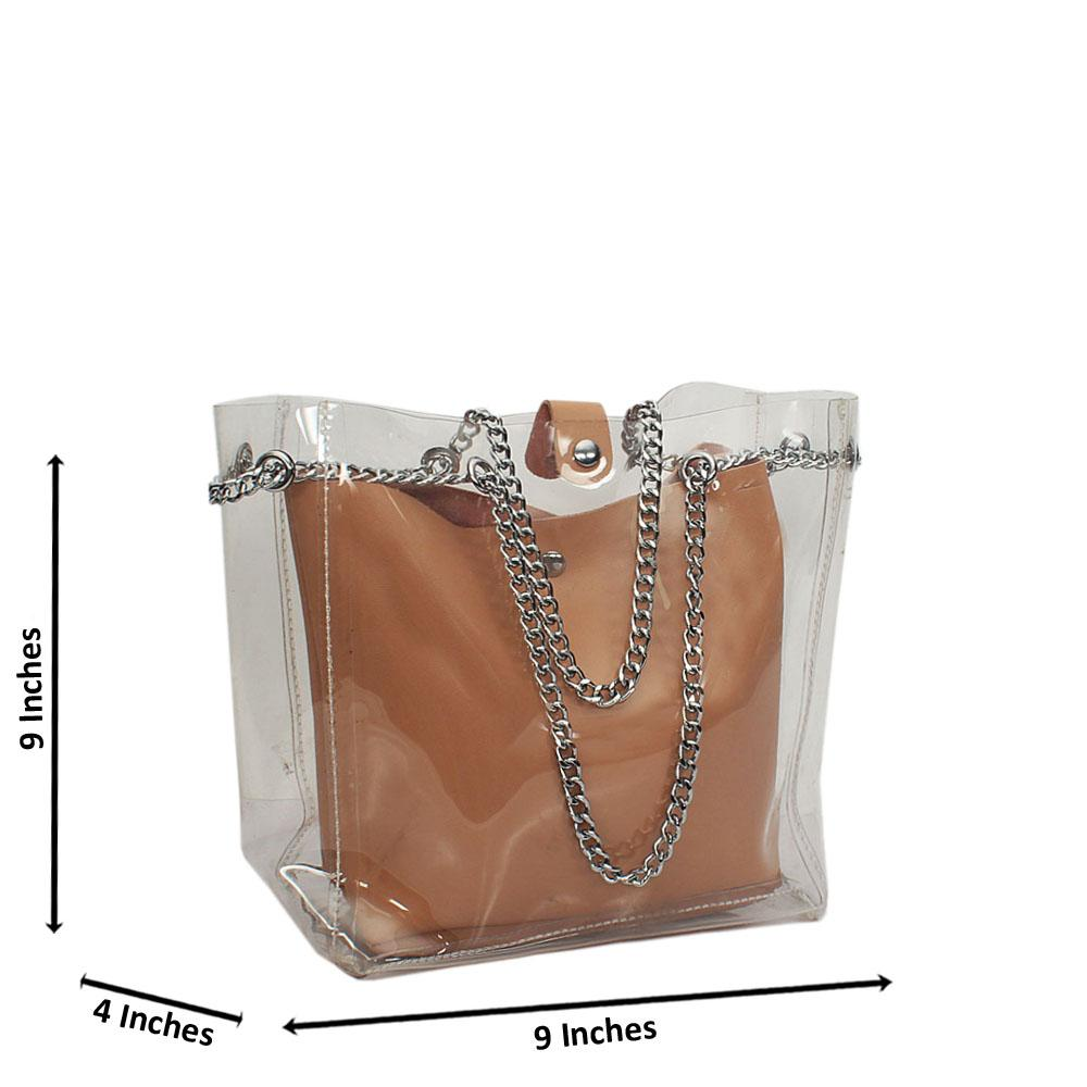 Beige Transparent Rubber Leather Small Shoulder Handbag