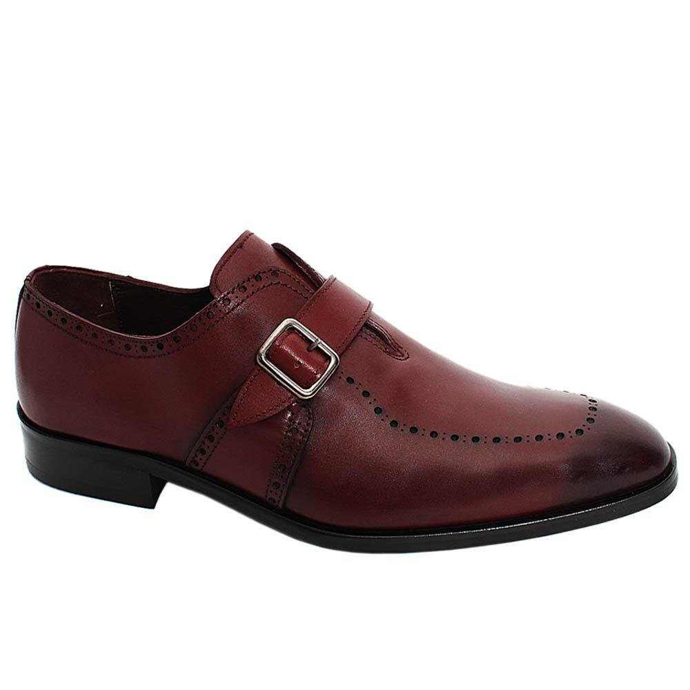 Wine Adonis Dotted Leather Men Monk Strap Shoe