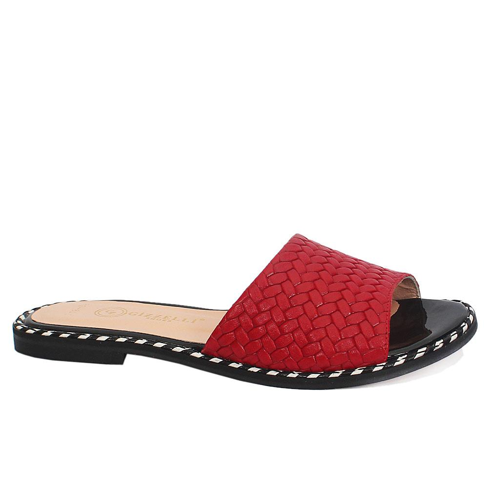 Red Beca Twill Italian Leather Flat Slippers