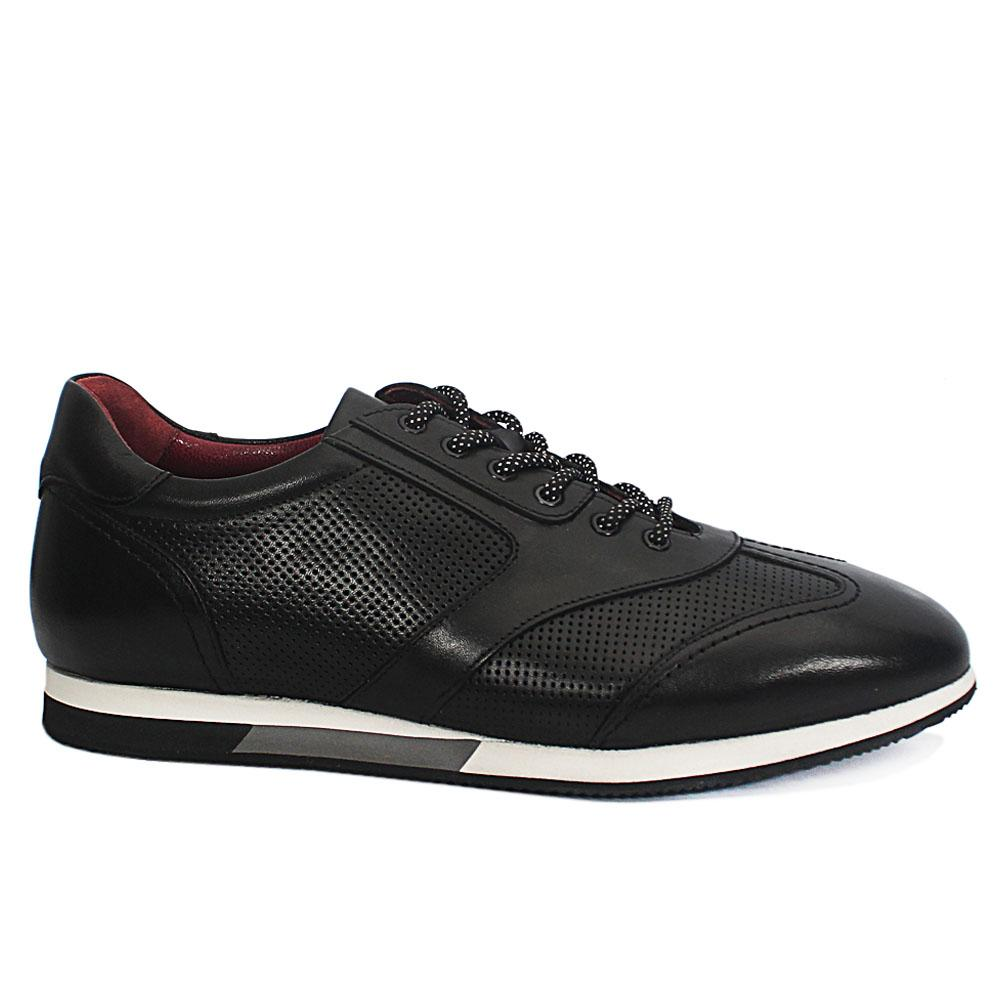 Black Dotted-Antique Leather Sneakers