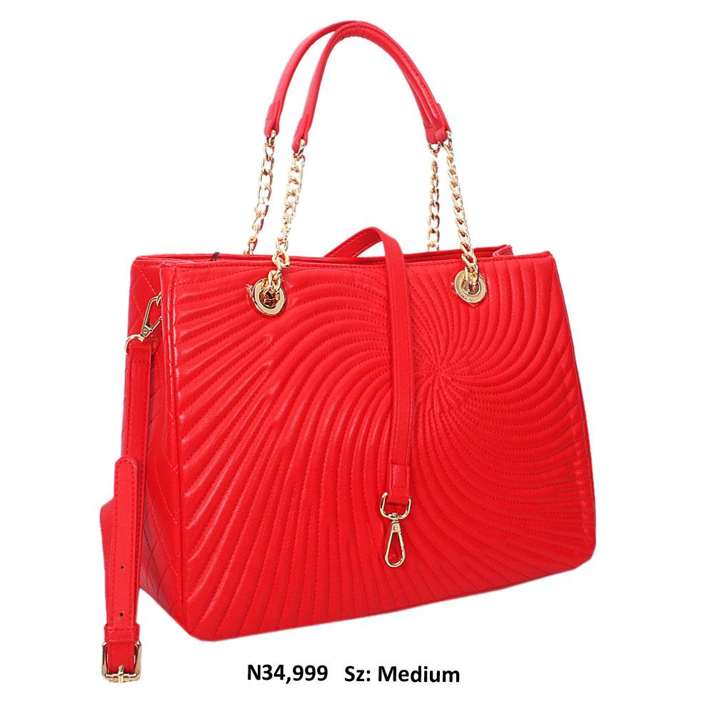 Red Martina hreaded Style Soft Leather Tote Handbag