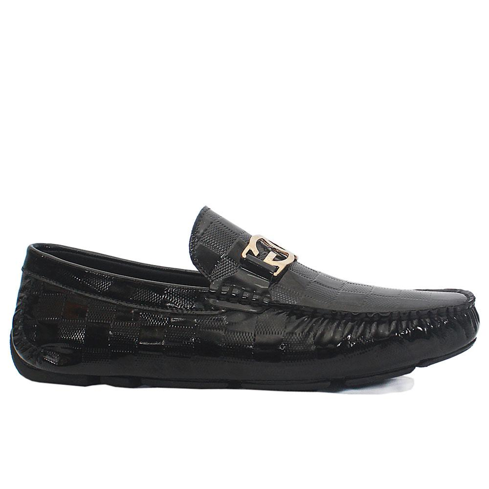 Black Check Styled Patent Italian Leather Drivers Shoes