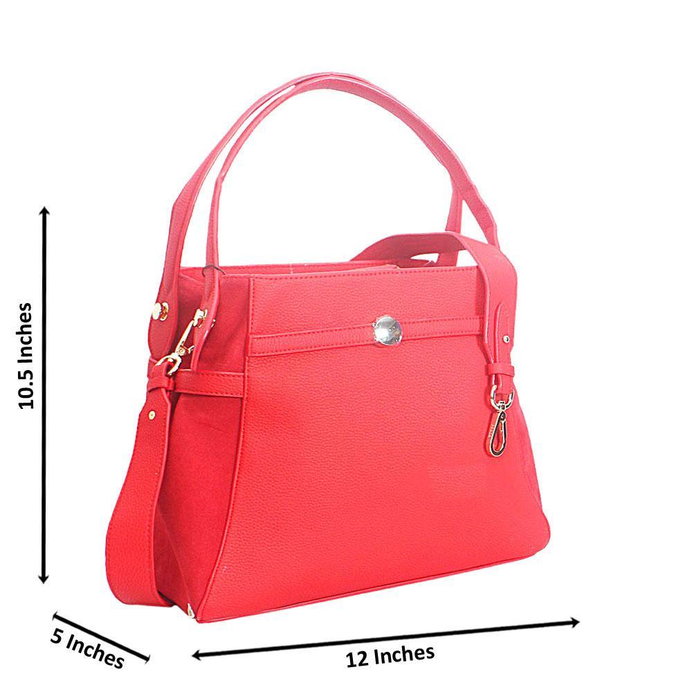 Red Allegra Leather Tote Handbag