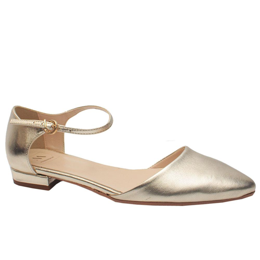 Sz 40 Biaciami Gold Leather Pointed Toe Flat Dress Shoes