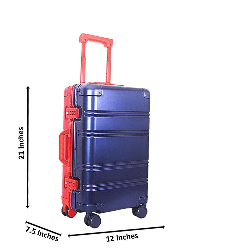 Blue Red 21 Inch Aluminium Carry On Luggage Wt TSA Lock