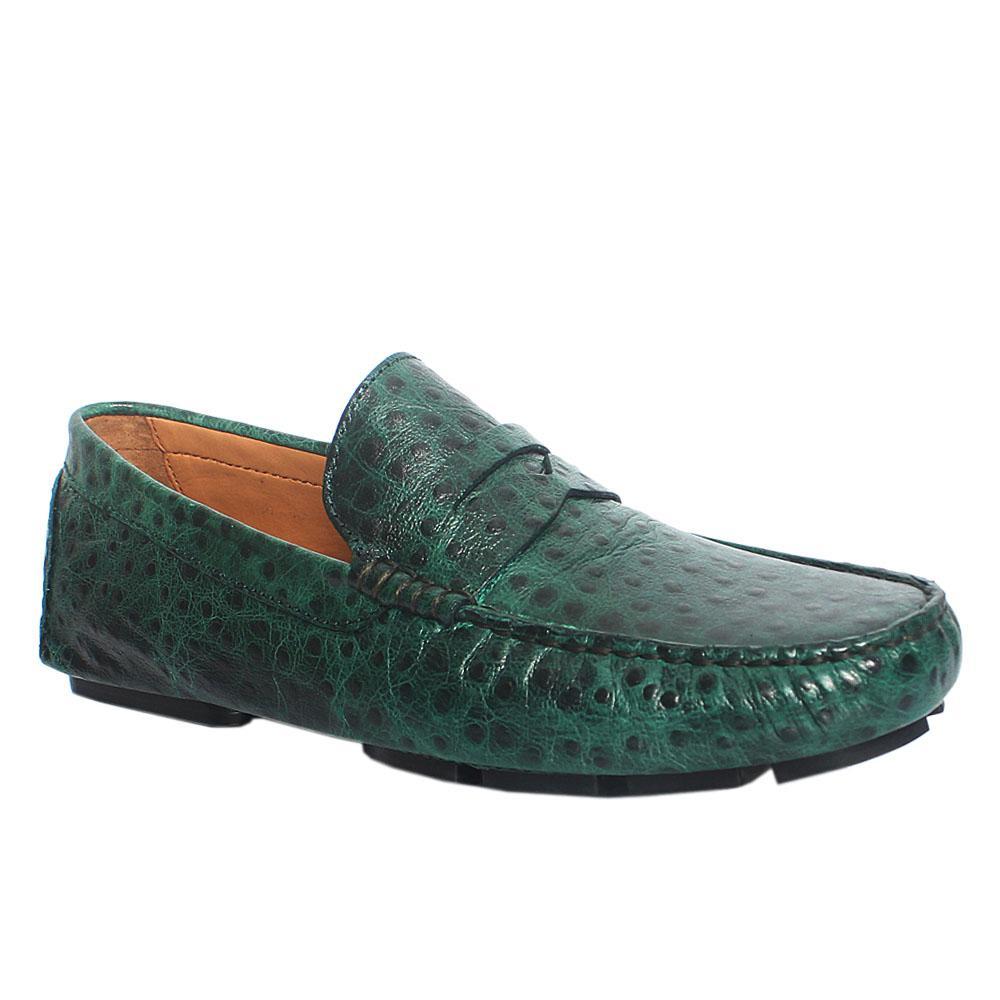 Green Mario Peafowl Italian Leather Drivers Shoes