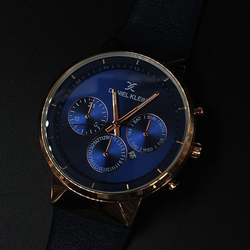 Daniel Klein Jose  Blue Leather Curve Series Watch