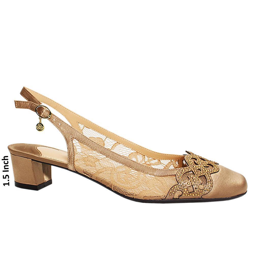 Dark Gold Satin Fabric Slingback  Low Heel