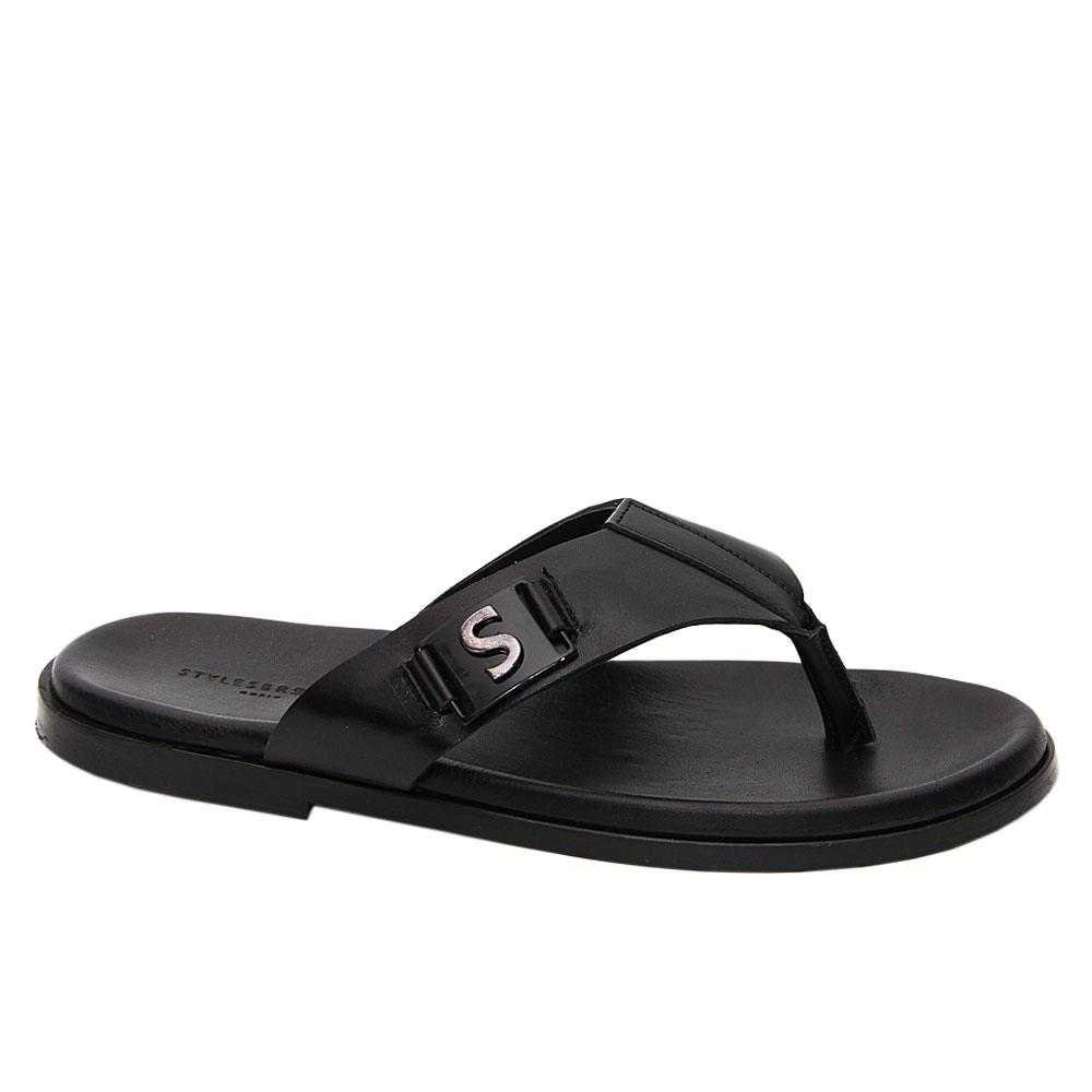 Black Miguel Italian Leather Slippers