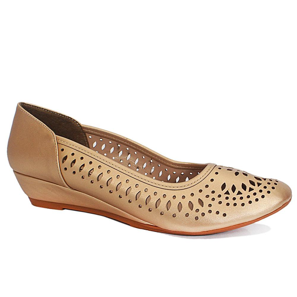 Sz 42 Claudia Gold Perforated Leather Small Wedge Ladies Shoes
