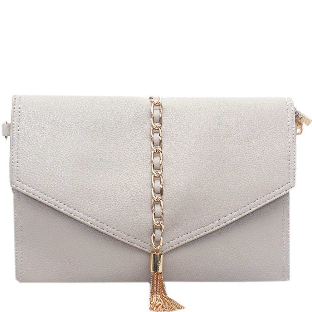 Grey Leather Silvolia Flat Purse Wt Chain Tassel