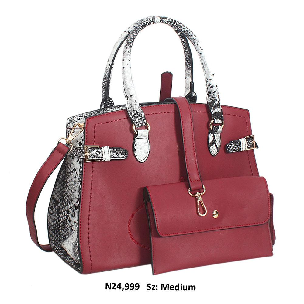 Burgundy Snake Skin Style Leather Tote Handbag
