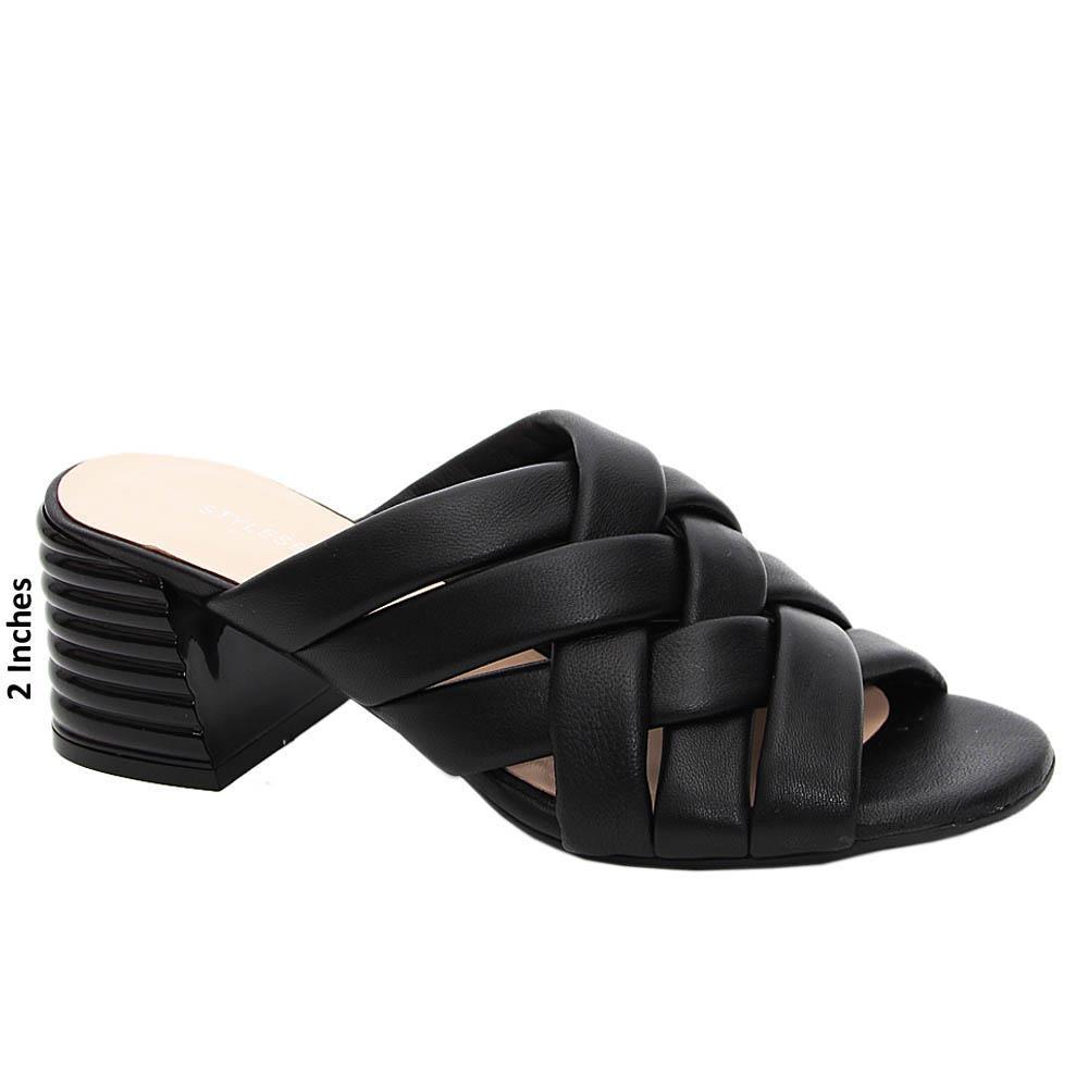 Black Carolina Woven Style Tuscany Leather Mid Heel Mule