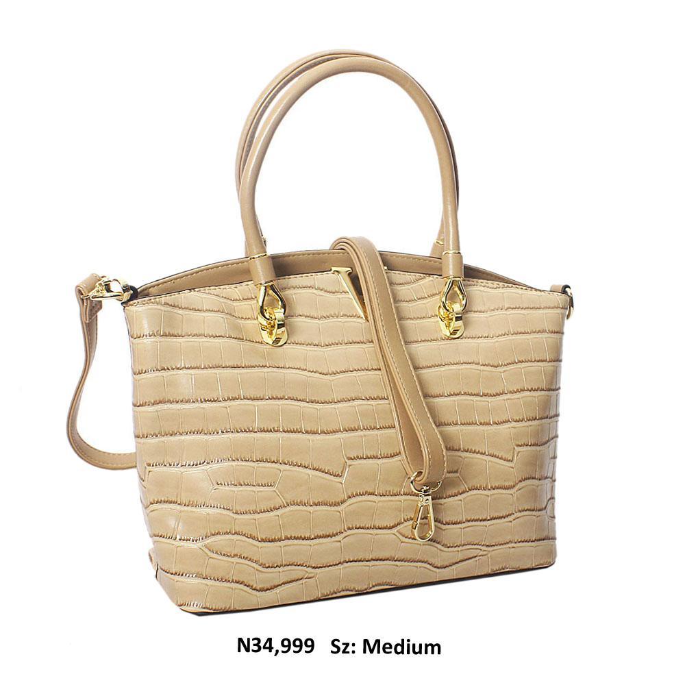 Beige Regina Croc Style Leather Tote Handbag