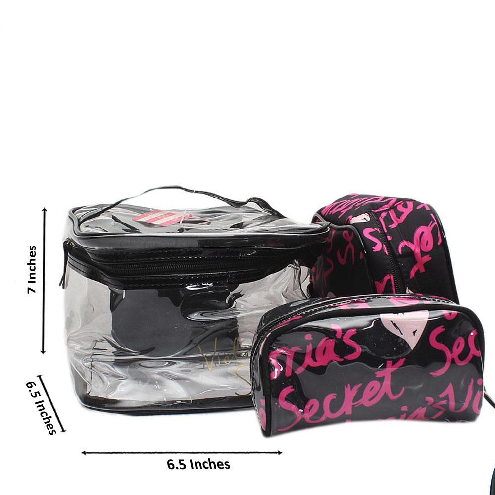 Victoria Secret Black Pink Rubber Fabric Makeup Bag