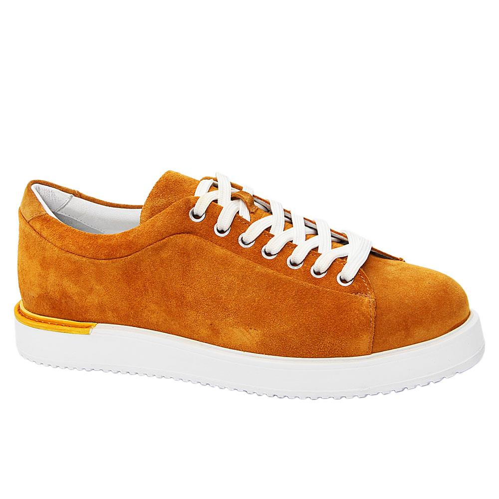 Mustard Yellow Federico Suede Italian Leather Sneakers