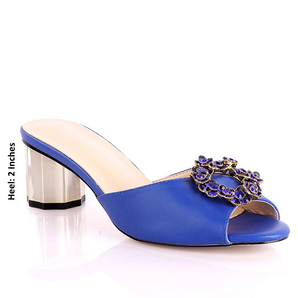 Royal Blue Parietti Studded Leather Low Heel Mules