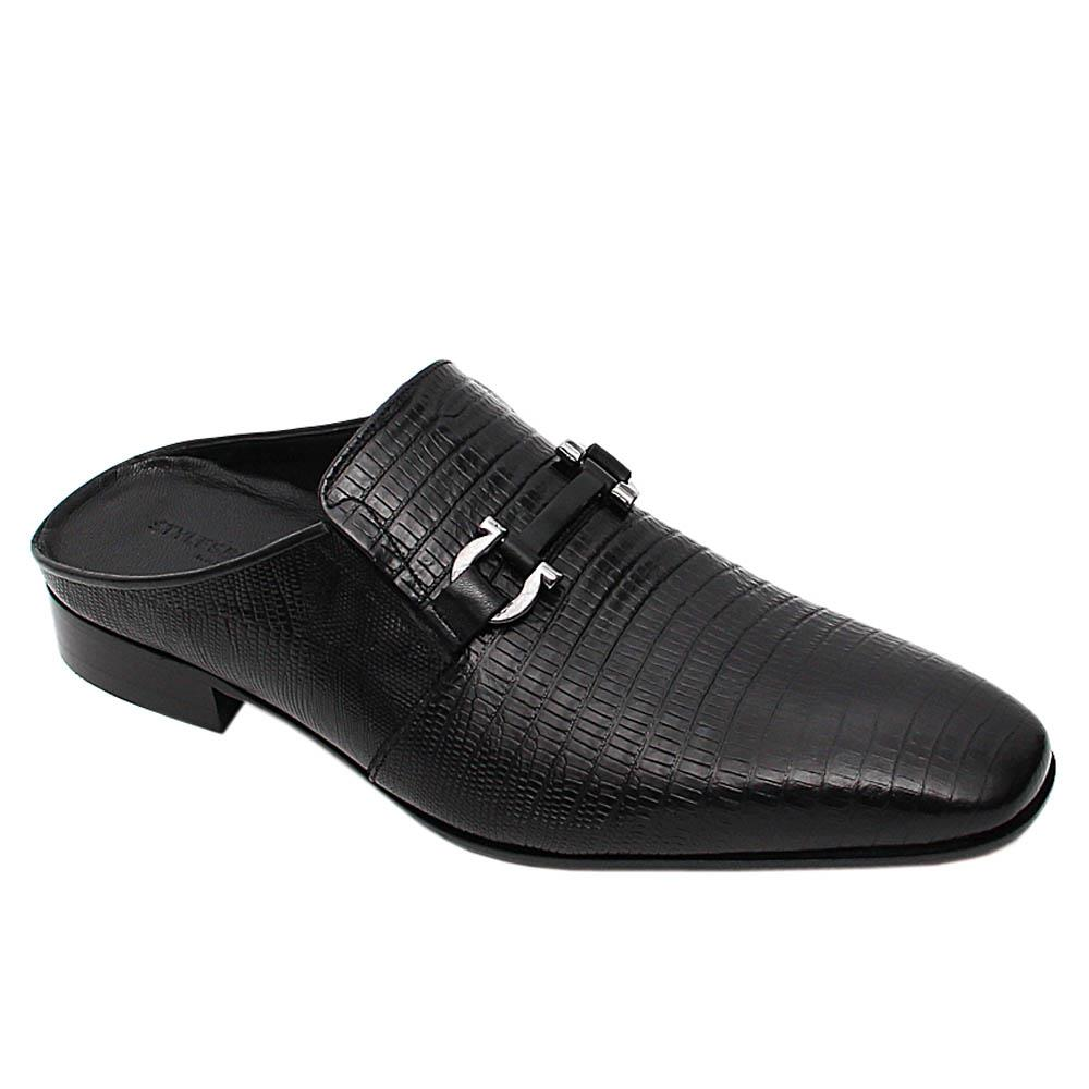 Black Ignacio Italian Leather Half Shoe Slippers