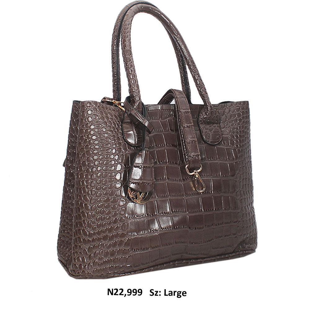 Brunette Brown Croc Style Leather Tote Handbag