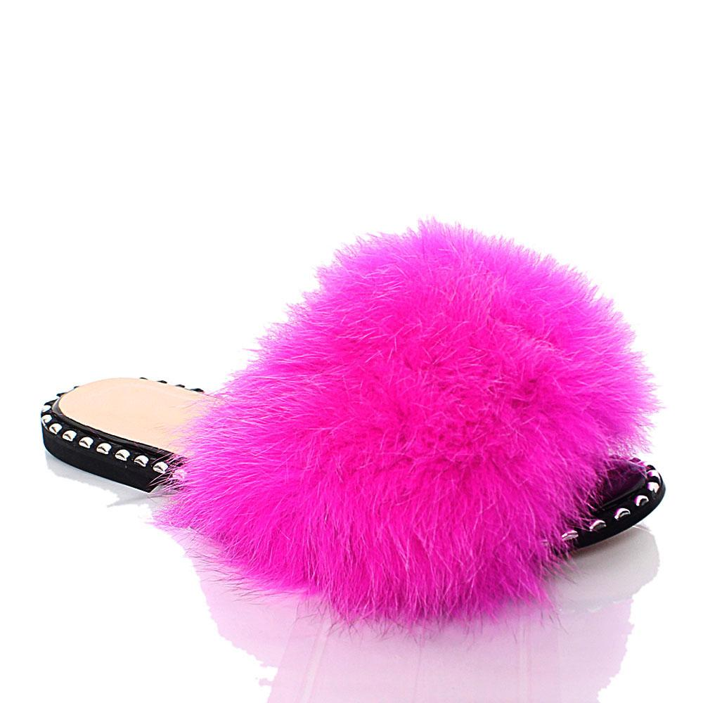 Pink Delfina Furry Italian Leather Flat Slippers