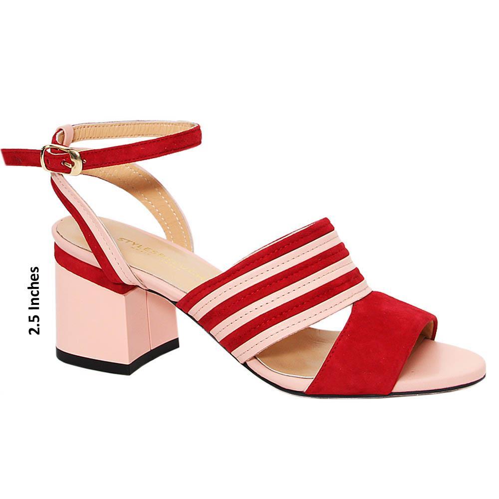Pink Wine Viviana Tuscany Suede Block Heel sandals