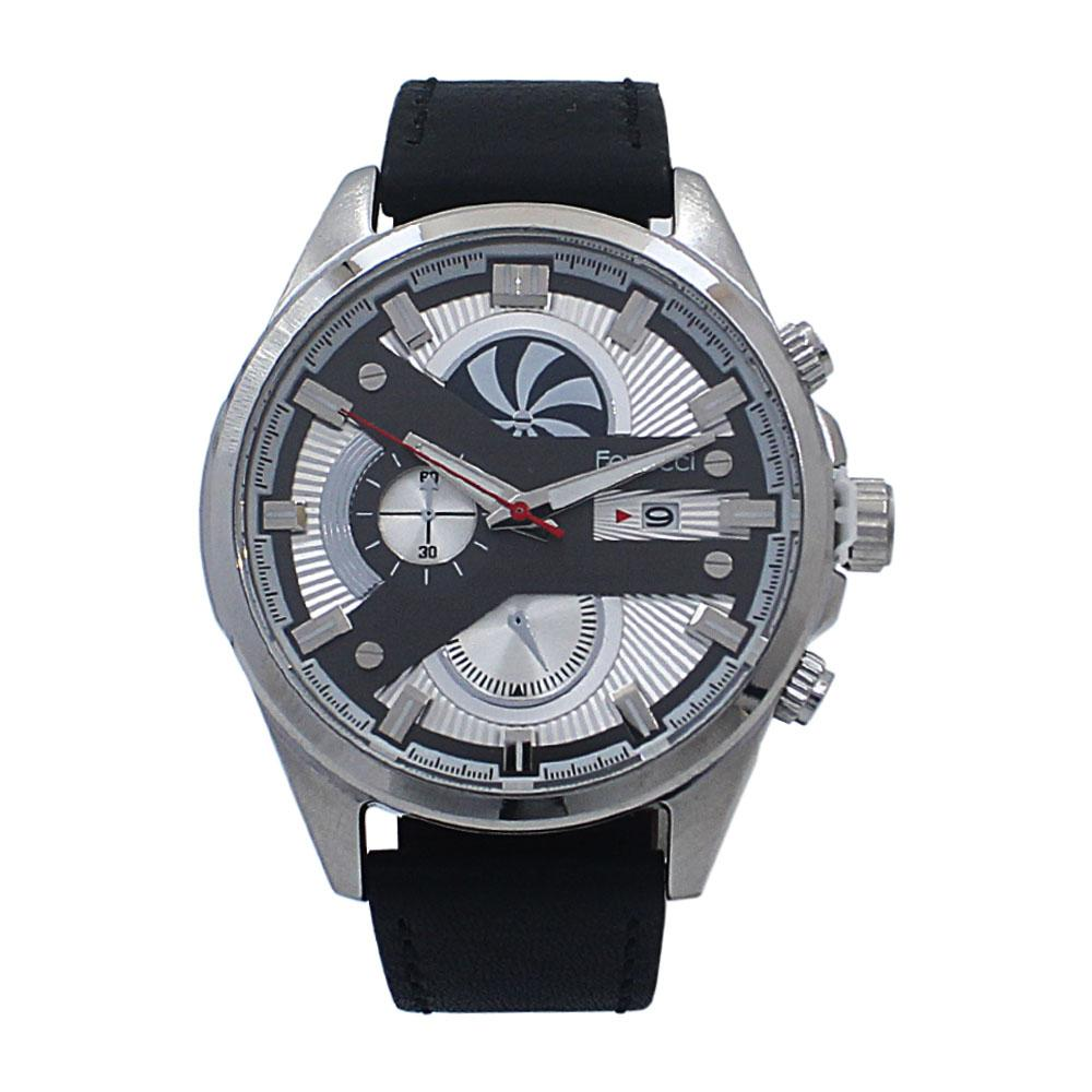 Speiral Silver Black Leather Watch