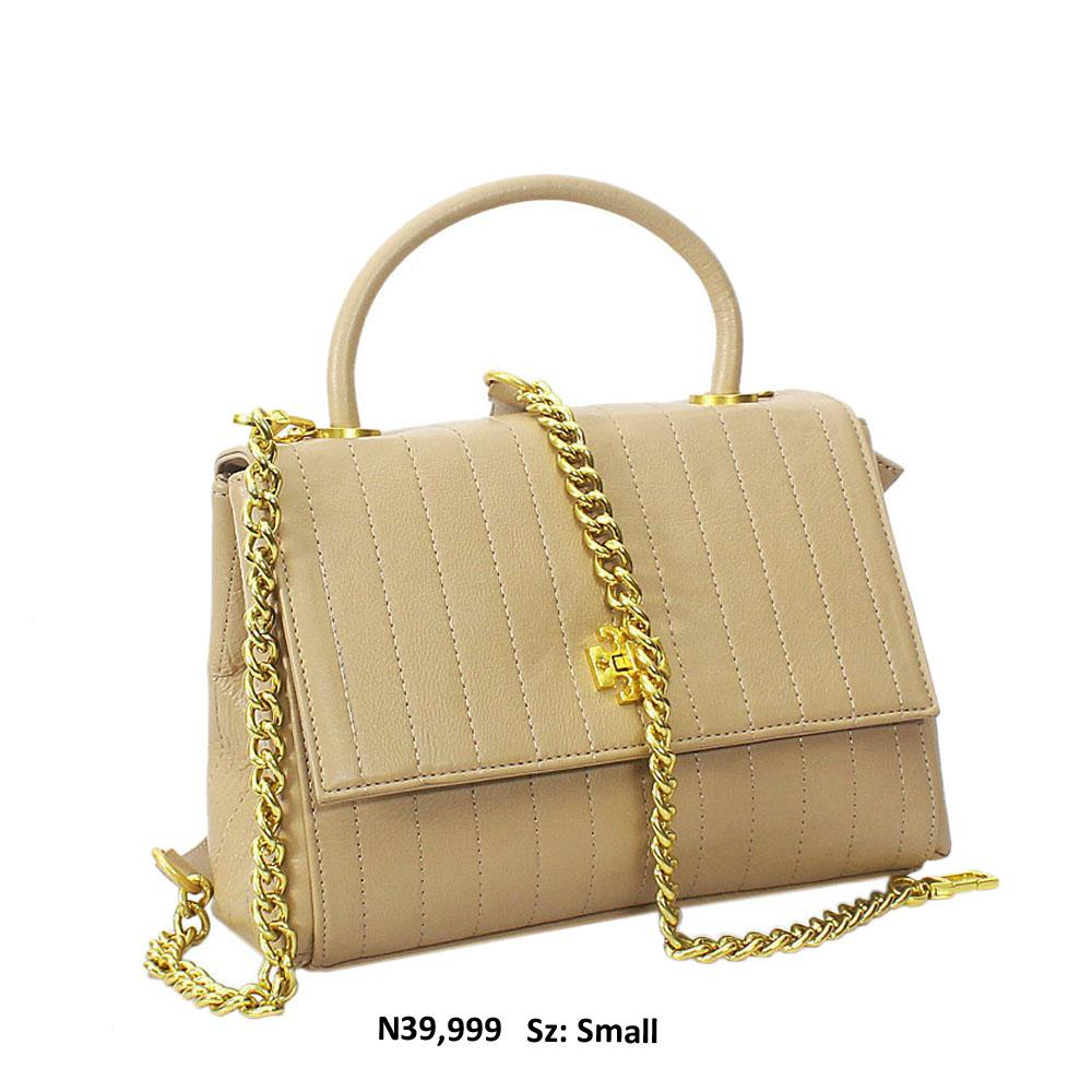 Beige Alex Shay Leather Top Handle Handbag