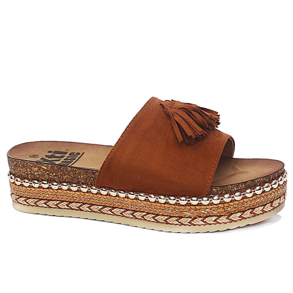 Xti Camel Brown Suede Leather Ladies Platform Slip On Slippers
